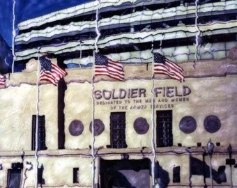 Soldier Field Polaroid SX-70 Manipulation - 8x8 Fine Art Photograph, Wall Decor