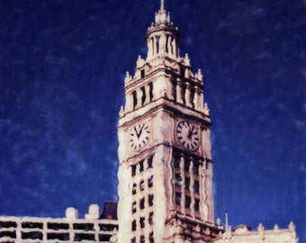 Wrigley Building - Polaroid SX-70 Manipulation - 8x8 Fine Art Photograph, Wall Decor