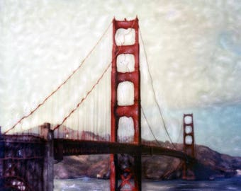 Golden Gate Bridge Polaroid SX-70 Manipulation - 8x8 Fine Art Photograph, Wall Decor