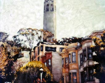 Coit Tower - Polaroid SX-70 Manipulation - 8x8 Fine Art Photograph, Wall Decor