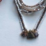 Gemstone and Textile Talisman Necklace - Boulder Opal on woven Watana strand