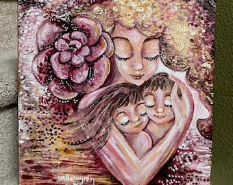 Gift for Mom with Boy Girl Twins, Pink Flower Motherhood Art, Meaningful Art Gift, Mothers Day for Mom of 2 - Grow Well Original Painting