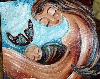 ON SALE! ** Condolence Gift for Mom, Sympathy Gift After Baby Loss, Angel Baby - Original painting on canvas by KmBerggren - Set Me Free