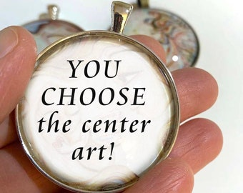 Your Choice of KmBerggren Art Pendant ~ 1.5 inch round glass art pendant, customizable necklace