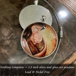 Made To Order Motherhood 1.5 inch Charm Glass Art Pendant Necklace - Nothing Compares in Silver