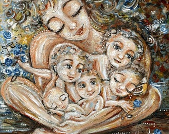 Mother with Five Boys, Big Family Art, Gentle Mom Art Print from KmBerggren - Find Your Peace In Me