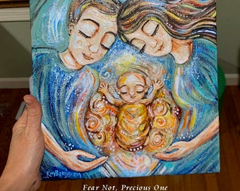 Sympathy Family Gift after Child Loss, Personalize Hair & Eye Colors, Bereaved Mother Father Memorial- OOAK - Fear Not Precious One