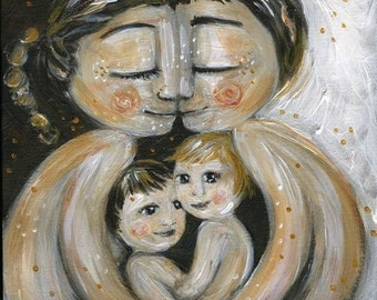 Mom and Dad and two children protected, archival signed motherhood print from an original painting by Katie m. Berggren - Like Minded
