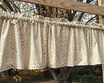 Gold Cheetah Leopard Sparkle Cat Wildlife Handcrafted Custom Sewn Valance A2 9