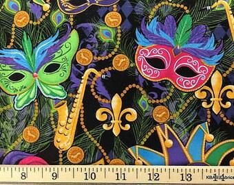 Mardi Gras Masks Maquerade Celebration Feather Cotton Fabric By Half / Yard t3/4