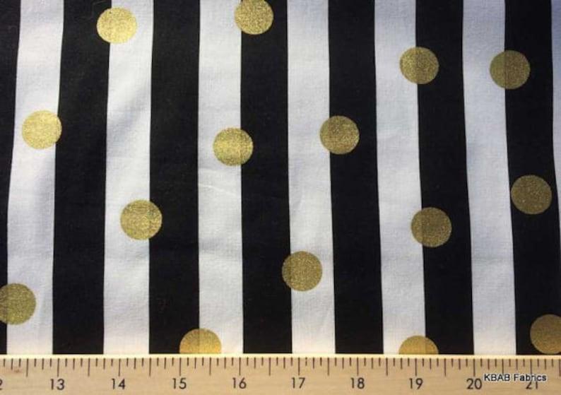 Black White Stripes Metallic Gold Dots Dot B/&W Striped Cotton Fabric a3//10