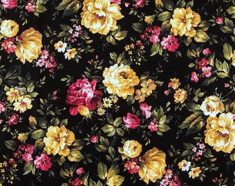 Black Floral Rose Fabric Shabby Chic Cottage Roses Black Fabric Peony Romantic Flower Fabric t1/39