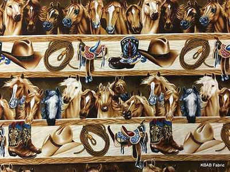 Western Cowboy Ranch Old West Horse Boots Saddle Rope Equine Cotton Fabric  t4-27