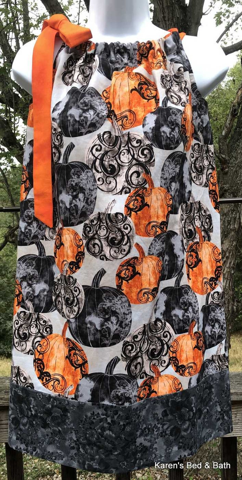 Halloween Sundress Party Dress Thanksgiving Autumn Black Gray Orange Pumpkins Girls Dress Ready to Ship Size 14