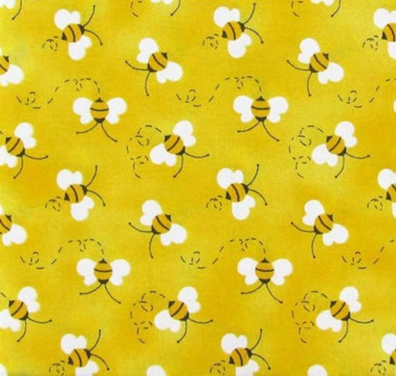 Bumble Bee Fabric Bees Black Yellow Buzz Spring Summer Fabric