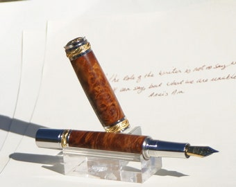 Majestic 22kt Gold Plated and Rhodium Fountain Pen - Hand dyed Buckeye Burl in rust and russet