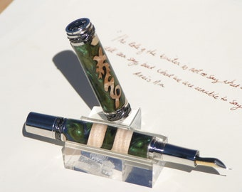 Majestic Rhodium and Black Titanium Dragon Fountain Pen - Hand dyed Maple Burl and Resins
