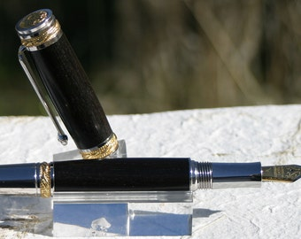 Majestic 22kt Gold Plated and Rhodium Fountain Pen - Ebony Wood