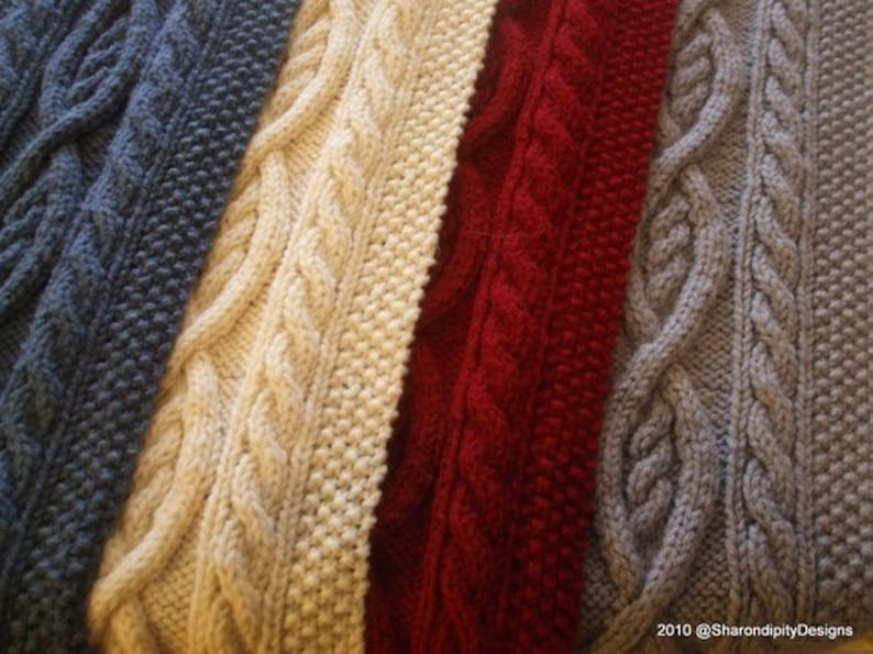 Pdf Knitting Pattern Cable Knit Scarf Traditional Irish Etsy