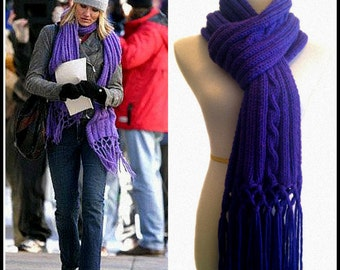 Cable Scarf, Purple Scarf, Knit Scarf, PDF Knitting Pattern, In Her Shoes Movie, Cameron Diaz, Wool,