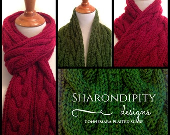 Connemara Plaited Knit Scarf PDF Pattern