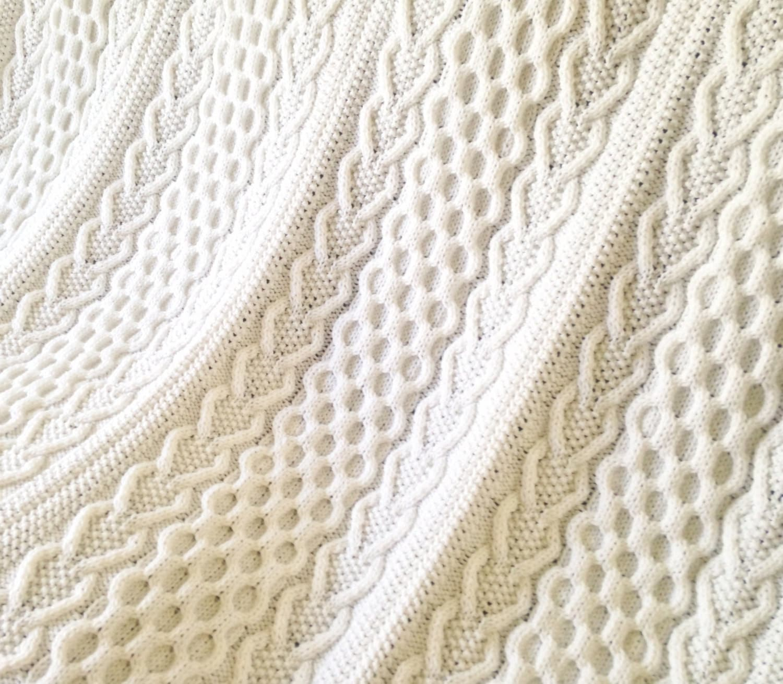 Hearts & Shamrocks Cable Afghan, Knit Afghan, Irish Afghan, Knitting ...