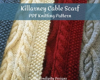 PDF Knitting Pattern. Cable Knit Scarf. Traditional Irish. Womens Scarf. Winter Scarf. DIY.