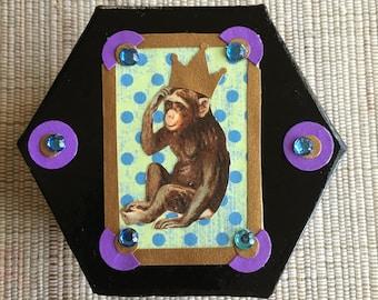 Decoupage Chimp Prince gift box