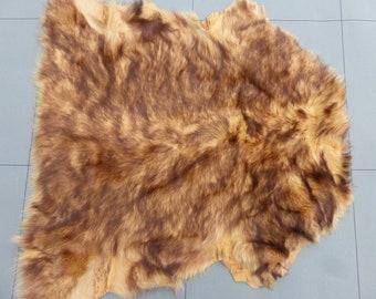 sheepskin shearling leather hide Cream Tip Bronze silky hair w//Black Wool back