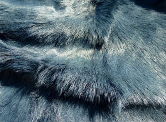 sheepskin leather fur hide Dark Brown Mottle long thick hair w//White Suede back