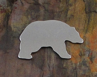 """20 Deburred 1 1/4"""" x 3/4"""" BEAR *Choose Your Metal* Aluminum Brass Bronze Copper Nickel Silver Stamping Blanks Finished Polished"""