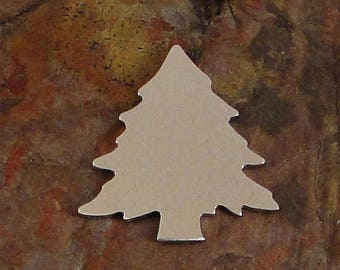 """10 qty 1 1/4"""" PINE TREE *Choose Your Metal* Aluminum Brass Bronze Copper Nickel Silver Stamping Blanks Stamping Blanks Deburred Enameling"""