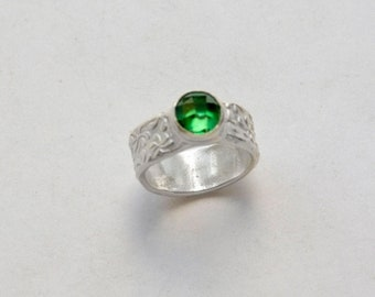 Women's ring, artisan Silver, The Dryad's song silver ring, Size 6-3/4 US, handmade fine silver band with green cubic zirconia