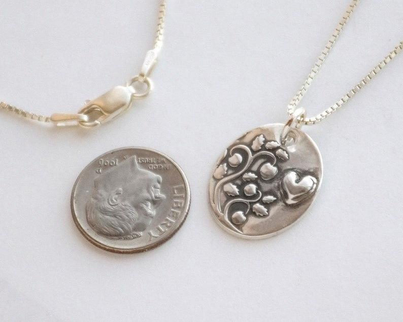 Silver Petite Raised heart charm handmade fine silver slim small charm sterling chain wlength options Compassionate Nature Necklace