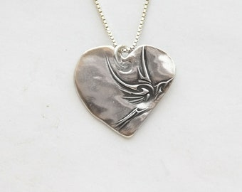 Heart Necklace, solid Silver, Fine Silver handmade heart charm on sterling chain, length options, fine silver heart w/flying bird