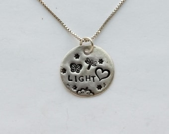 Light Heart Women's Silver Necklace, fine silver charm, sterling silver chain, length options, butterfly and dragonfly accents, slim, light