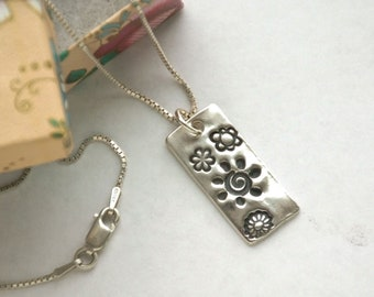Bright Life Journey Silver necklace for women, sun spiral handmade fine silver rustic charm on sterling silver silver chain, length options