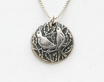 """Women's Necklace, fine silver song bird charm on sterling chain w/length options, """"Sing"""", handmade bird charm each varies in solid silver"""