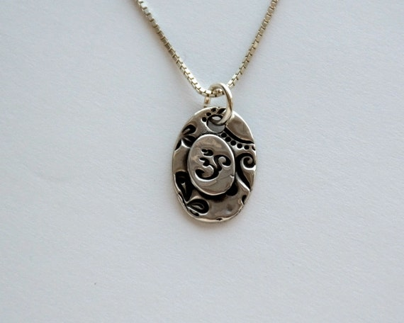 Om Essence Fine Silver Necklace raised om Small light fine silver handmade Om charm on sterling silver chain with length options