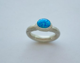 Blue Opal and silver ring, lab-created blue opal, real silver, handmade fine silver rounded band US Women's ring size 7-1/2, Mermaid's Magic