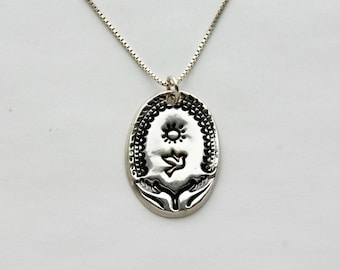 Sun Rise Women's Silver Necklace, Slim Fine Silver Handmade charm on sterling silver chain, length options
