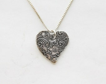 """Women's Heart Solid silver necklace, Fine silver handmade heart on sterling silver chain w/length options, small curvy heart, """"Dynamic Life"""""""
