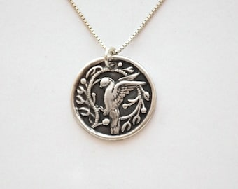 Call Of Doves Silver Necklace, Fine Silver dove medallion, sterling silver chain, length options, individually handmade, Each varies