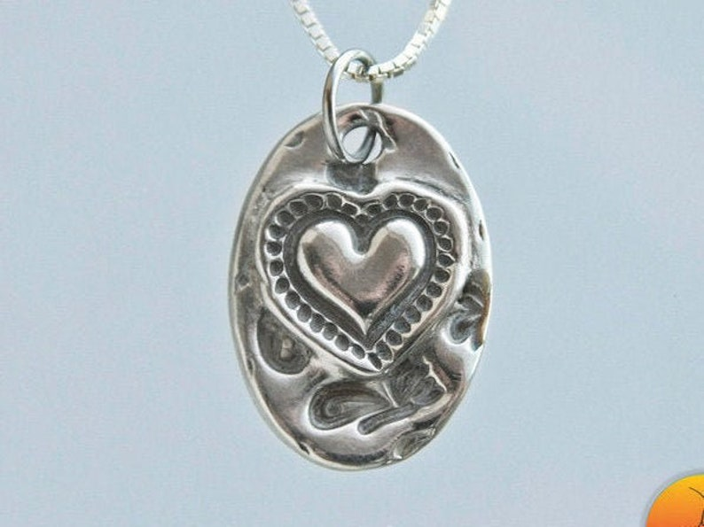 Rustic fine silver heart on sterling silver chain Each Varies Women/'s heart necklace My Heart Grows Silver Necklace length options