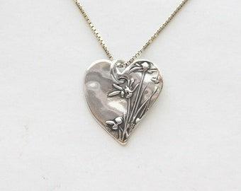 Sweet Women's Heart Silver Necklace, Small Rustic fine silver heart, sterling silver chain, length options, individually handmade heart