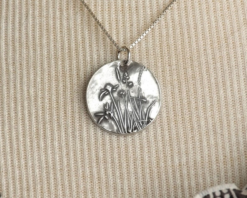 fine silver charm handmade small rustic wildflower charm on sterling silver chain length options A Wildflower Ballet silver necklace