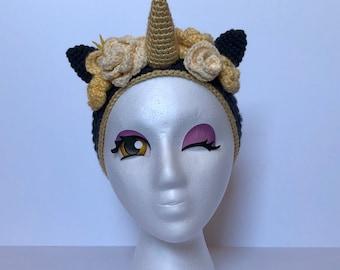 Crochet Unicorn Earwarmer Flower Crown