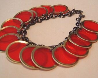 Red Bingo Chip Bracelet - gun metal