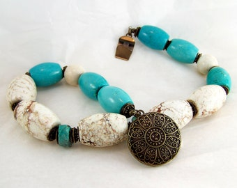 Oxidized metal blue turquoise necklace handmade beaded jewelry by j.wray stone necklace Wire wrapped necklace ceramic necklace purple