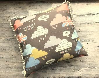 Rainy Day London Clouds Pillow with Pom Pom Trim - Insert Included